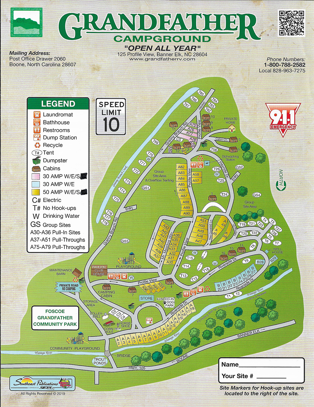 Grandfather Campground Map